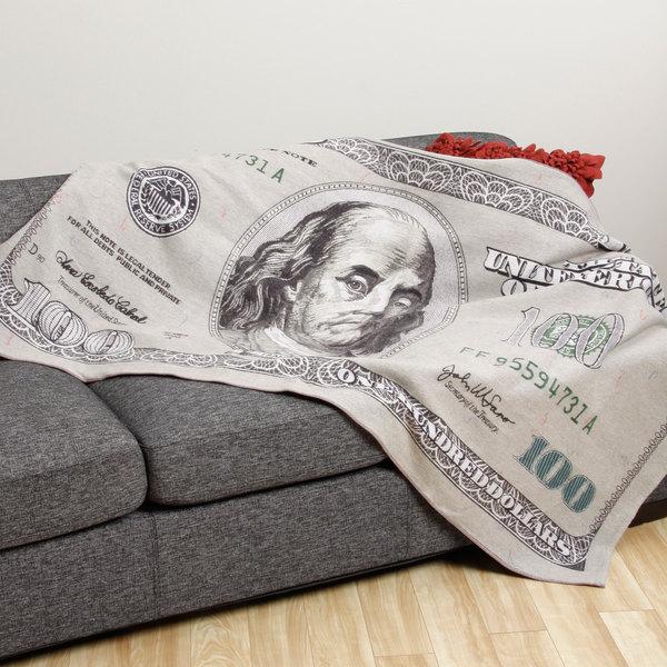 One Hundred Dollar Bill Flannel Throw