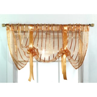 Ribbon Sheer Bronze Tie-up Valance