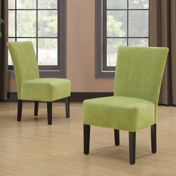 Portfolio Duet Emma Spring Green Velvet Upholstered Armless Chair (Set of 2)