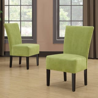 Portfolio Duet Emma Spring Green Velvet Upholstered Armless Chair (Set of 2)