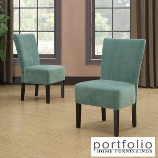 Portfolio Duet Emma Turquoise Blue Velvet Upholstered Armless Chair (Set of 2)