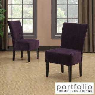 Portfolio Duet Emma Purple Velvet Upholstered Armless Chair (Set of 2)