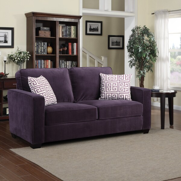 Portfolio Madi Purple Velvet Sofa with Amethyst Purple Greek Key Accent Pillows
