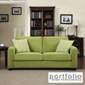 Portfolio Madi Spring Green Velvet Sofa with Apple Green Greek Key Accent Pillows