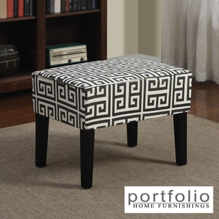 Portfolio Niles Smoky Charcoal Gray Greek Key Ottoman