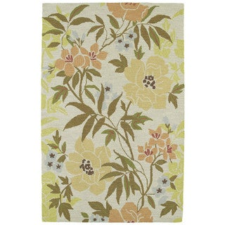 Retreat Oatmeal Floral Hand Tufted Rug (2'0 x 3'0)