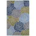 Retreat Blue Boquet Hand Tufted Wool Rug (5'0 x 7'6)