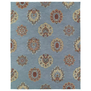 Felicity Blue Flowers Hand Tufted Wool Rug (7'6 x 9'0)