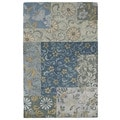 Euphoria Patchwork Blue Tufted Wool Rug (5'0 x 7'9)