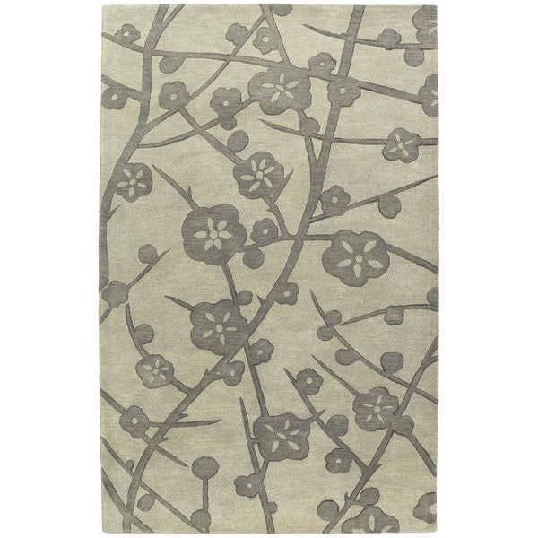Euphoria Blossom Taupe Tufted Wool Rug (5'0 x 7'9)