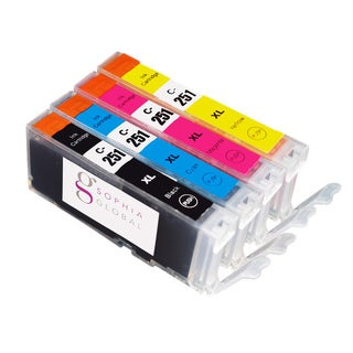 Sophia Global Compatible Canon CLI-251XL Small Black, Cyan, Magenta, and Yellow Ink Cartridges (Pack of 4)