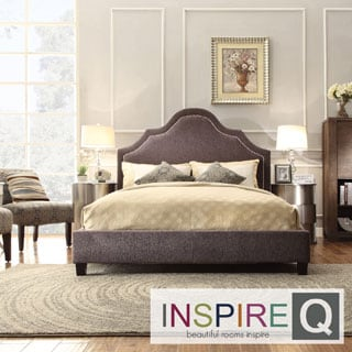 INSPIRE Q Fletcher Dark Grey Chenille Nail Head Arch Curved Upholstered Bed