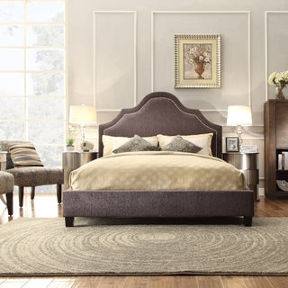 INSPIRE Q Fletcher Dark Grey Chenille Nailhead Arch Curved Upholstered Bed