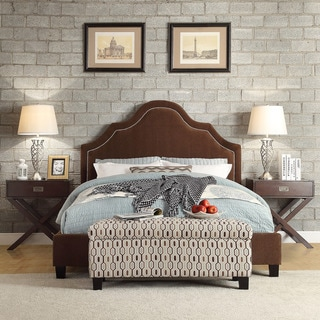INSPIRE Q Fletcher Chocolate Chenille Nail Head Arch Curved Upholstered Bed