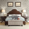 Esmeral Chocolate Chenille Nail Head Arch Curved Upholstered Bed