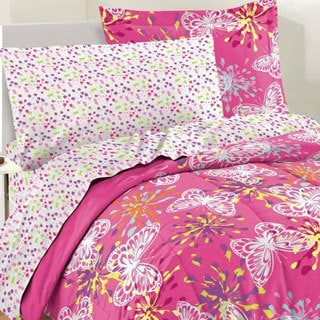 Butterfly Party 7-piece Bed in a Bag with Sheet Set