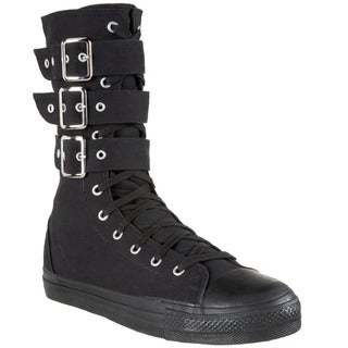 Demonia Women's 'DEVIANT-202' Canvas 3-buckle Calf Sneaker Boots