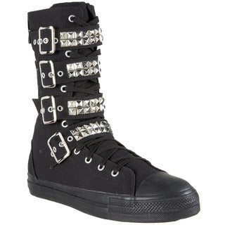 Demonia Men's 'DEVIANT-203' Canvas 4-buckle Calf Sneaker Boots