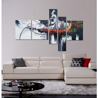 Hand Painted 'Dark NEW YORK City' 5-piece Canvas Oil Painting