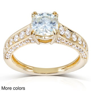 Annello 14k Gold Cushion-cut Moissanite and 1/2ct TDW Diamond Engagement Ring (G-H, I1-I2)