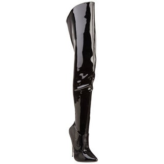 Devious Women's 'SCREAM-3010' 6-inch Metal Heel Thigh-high Black Boots