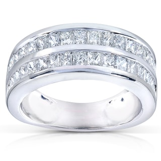 Annello 14k White Gold 2 1/2ct TDW Double-row Diamond Ring (G-H, VS)