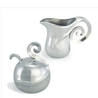 Polished Aluminum Sugar and Creamer Set