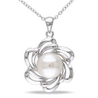 Miadora Sterling Silver Freshwater White Pearl Flower Necklace (10.5-11 mm)