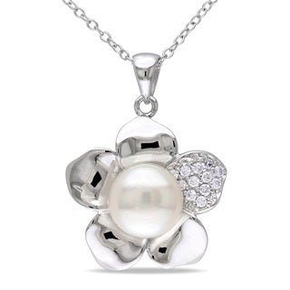 M by Miadora Sterling Silver Pearl and White Topaz Flower Necklace (9-10 mm)
