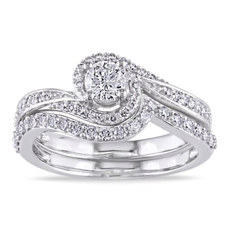 Miadora 14k White Gold 3/4ct TDW Diamond Bridal Ring Set (G-H, I1-I2)