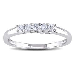 Miadora 10k White Gold 1/6ct TDW Diamond 5-Stone Ring (H-I, I2-I3)