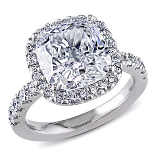Miadora 18k Gold 5 5/8ct TDW Certified Cushion Cut Diamond Ring (H, SI1) (GIA)