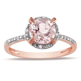 Miadora 10k Rose Gold 1ct Morganite and Diamond Halo Ring (G-H, I1-I2)