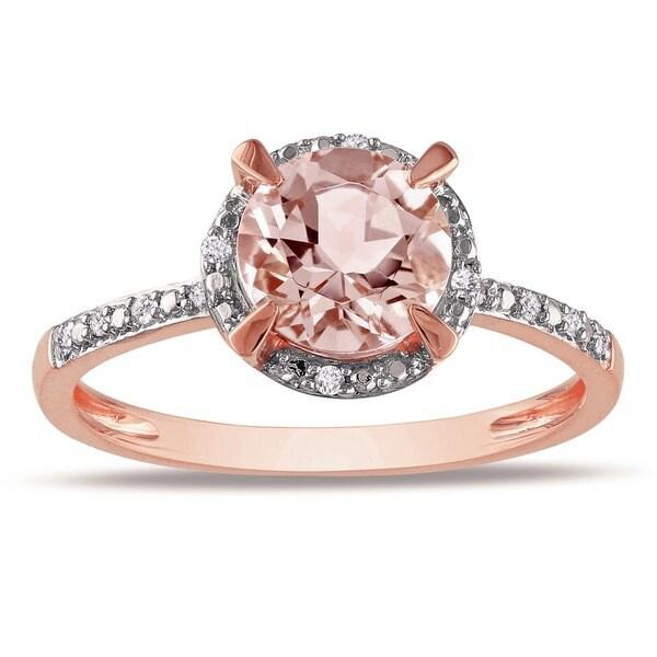Miadora 0.05 CT Diamond TW And 1 1/6 CT TGW Morganite Fashion Ring 10k Pink Gold GH I1;I2