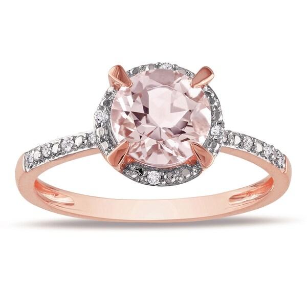 0.05 CT Diamond TW And 1 1/6 CT TGW Morganite Fashion Ring 10k Pink Gold GH I1;I2