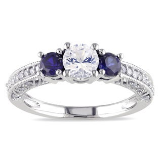 Miadora 10k White Gold Created Sapphire and 1/6ct TDW Diamond 3-Stone Ring (G-H, I2-I3)