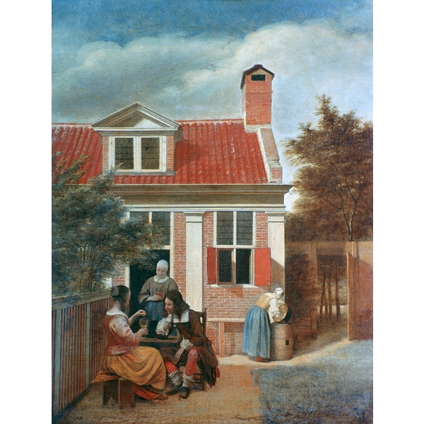 Pieter de Hooch 'Three Women and a Man in a Courtyard behind a House' Canvas Print