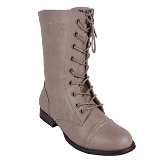 Refresh Women's 'Libby-01' Taupe Lace-up Combat Boots