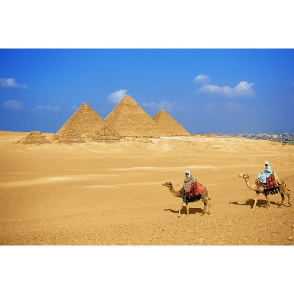 'People Riding Camels, The Pyramids of Giza, Egypt' Photography Canvas Print