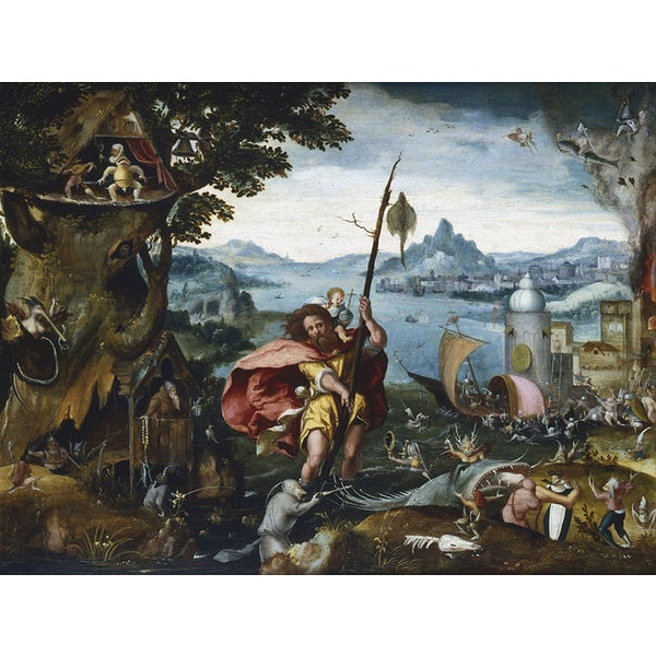Jan Wellen de Cock 'St Christopher Crossing the River' Canvas Print