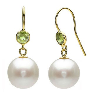 DaVonna 14k Gold White Pearl and Green Peridot Dangle Earrings (6-11 mm)