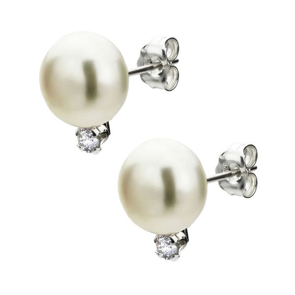 DaVonna Sterling Silver White Pearl and Diamond Stud Earrings (G-H, SI1, SI2) (8-9 mm)