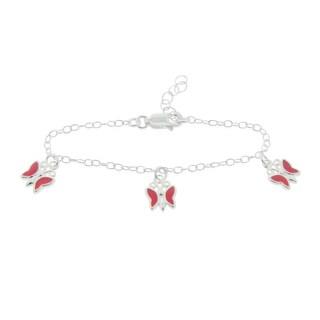 Mondevio Sterling Silver Enamel Butterfly Children's Bracelets