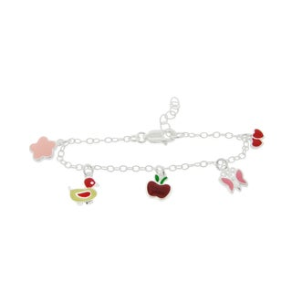 Mondevio Sterling Silver Enamel Charm Children's Bracelet