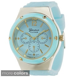 Geneva Platinum Women's Silicone Strap Watch with Decorative Subdials