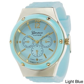 Geneva Platinum Women's Silicone Strap Watch with Decorative Subdials