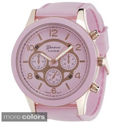 Geneva Platinum Women's Silicone Strap Water-resistant Watch