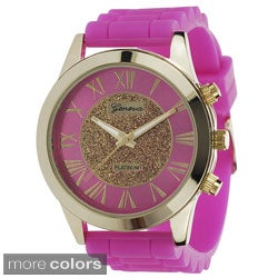 Geneva Platinum Women's Silicone Strap Watch with Goldtone Arrows