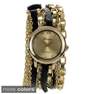 Geneva Platinum Women's Chain Wrap Watch