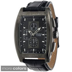 Geneva Platinum Women's Leather Croc Print Strap Watch